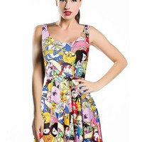 Adventure Time Digital Print Sleeveless A-line Skater Mini Pleated Dress