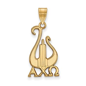 14K Plated Silver Alpha Chi Omega Large Pendant