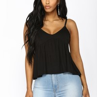 After Hours Peplum Top - Black