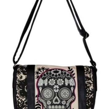 Loungefly Lace Skull With Fuschia Crossbody Bag