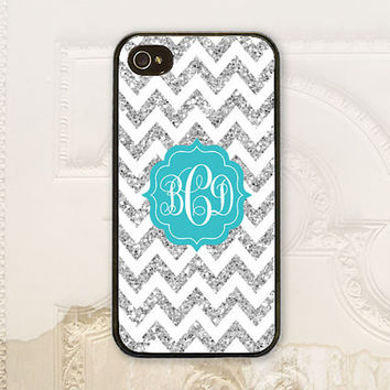 Monogram Chevron phone case iPhone 4 4S 5 5s 5c 6 6+ Plus Samsung Galaxy s3 s4 s5 s6 Create your own Personalized Gift, Gray glitter P3570