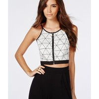 Missguided - Triangle Grid Print Crop Top White
