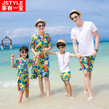 Matching Father Mother Baby Clothing Daughter Mother Colorful Maxi Dress Father Son Outfit Beach Shorts Family Matching Clothes