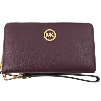 Michael Kors FultonLarge Flat Multifunction Leather Phone Case Wristlet, Plum
