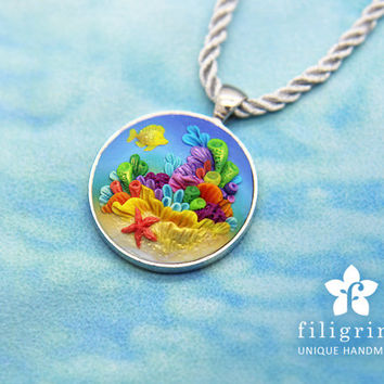 CORAL REEF fish pendant, silver tone round bezel, polymer clay filigree applique embroidery. Tropical underwater sea jewelry. Gift for her