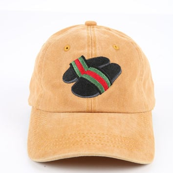 The Gucci Slides Dad Hat in Mustard
