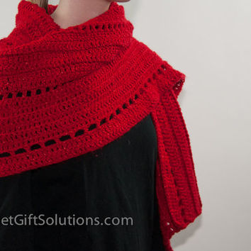 Red Shoulder Wrap, Sparkly Red Shawl, Crocheted Wrap, Elegant Shoulder Wrap