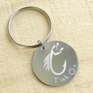 Fishing, Fly Fishing, Personalised Keyring, Custom Keychain, Stainless Steel, Personalised Gift, Boyfriend Gift, Husband Gift, Gifts for Him