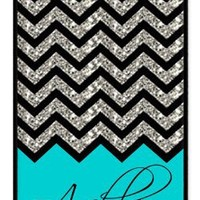 Personalized Turquoise Chevron Pattern rubber iphone 4 case (NOT GLITTERY) - Fits iphone 4 & iphone