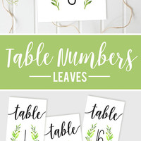 Wedding Table Numbers, Wreath Table Numbers, Reception Table Numbers, DIY Wedding, Printable Table Numbers, Leaves Wedding, SIZE 4x6