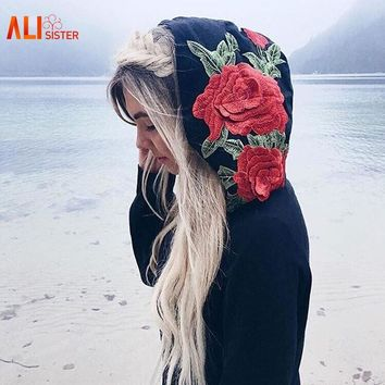 Alisister Embroidery Rose Sweatshirt Hoodie Women Black No Bling Hoodied Pullover Jumper Hip Hop Oversize Brand Clothing