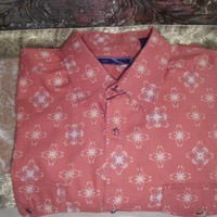 Mens Vintage XL Snap Button Clay Color Country Western Dress Shirt Double Snap Button Pockets Long Sleeve