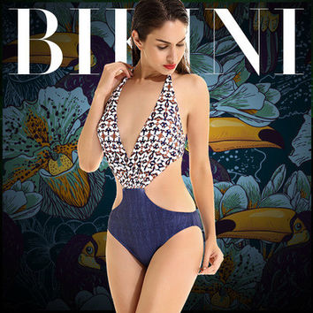 2017 Trending Fashion Floral Printed Sexy Floral Printed Triangle Backless Erotic Bikini Swim Suit Beach Bathing Suits Swimwear _ 13172