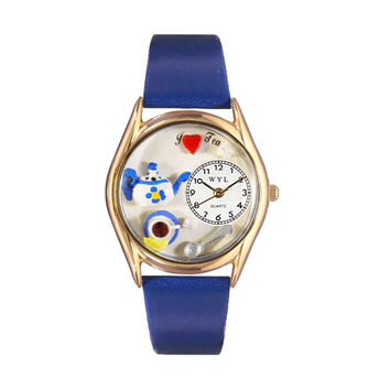 Whimsical Watches Healthcare Nurse Gift Accessories Tea Lover Royal Blue Leather And Goldtone Watch