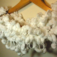 Soft White Pom Pom Fashion Scarf