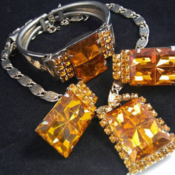 Vintage Severino Amber Rhinestone Necklace & Bracelet Earring Signed Demi Parure - Mid Century 1950's 1960's Rare Hard To Find Set