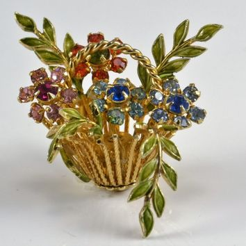 Warner Brooch Basket of Flowers - Rhinestone Petals Vintage 1950s 60s