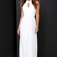 White Halter Keyhole Backless Maxi Dress