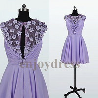 Short Lavender Chiffon Bridemaid Dresses 2014 Short Prom Dress  Flowers Party Dress Formal  Wedding Party Dress Dress Party Evening Gowns