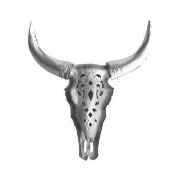 The Ledoux | Large Carved Cow Skull | Faux Taxidermy | Silver Resin