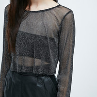 Urban Renewal Vintage Remnants Crystal Mesh Top in Black - Urban Outfitters