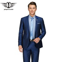 Men Blue Wedding Suits Luxury Male Business Suits Latest Fashion One Button Suit Men Slim Fit
