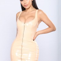Favorite Night Latex Dress - Nude