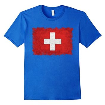 Swiss Flag T-Shirt in Vintage Retro Style