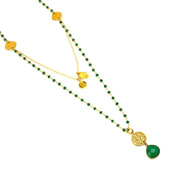 Green Onyx and Gold Hamsa Om Necklace