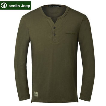 Senlin Jeep Men's Spring Solid Color V-Neck Long-sleeved Causal Cotton T-Shirts