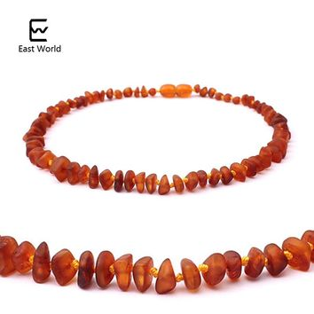 EAST WORLD Unpolished Amber Teething Necklace for Baby Jewelry Certificated Real Baltic Raw Amber Beads 5 New Designs Gifts