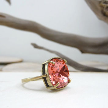 Padparadscha Swarovski Ring, Cushion Cut Ring Cocktail Ring, Swarovski Jewelry, Swarovski Crystal Ring, Watermelon Pink Crystal