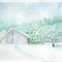 New Fallen Snow, original 8.5 X 10.5 watercolor winter scene with old barn, falling snow, blues and greens