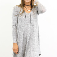 Ramble On Heather Gray Long Sleeve Tunic Dress