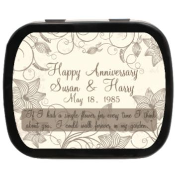 Garden Personalized Anniversary Mint Tins for Party Favors, Candy Favors, Anniversaries, Weddings