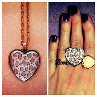 Leopard - pink - Necklace and Matching Ring set
