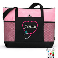 Personalized Zippered Nurse, CNA, RN, LPN Tote Bag with Mesh Pockets, Beach Bag