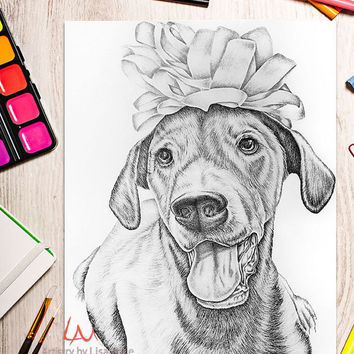Coloring Book page, Adult Coloring Page, Instant download coloring, printable, dog coloring, adult coloring page, coloring book adult