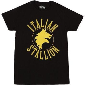 Rocky Italian Stallion Logo Officially Licensed Adult T-Shirt - Black