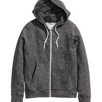 H&M - H&M+ Hooded Jacket - Black melange - Ladies