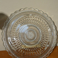 Footed Pressed Glass Cake Plate-Sunflower