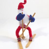 Vintage Yarn Covered Wire Santa Claus on Skis Scandinavian Christmas Decoration Christmas Sking Santa Claus Figure