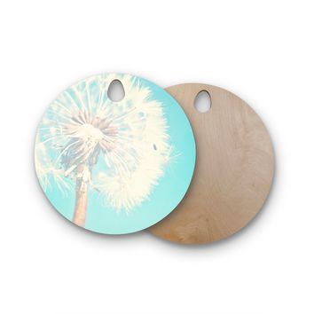 "Sylvia Coomes ""Aqua Dandelion"" Photography Floral Round Wooden Cutting Board"