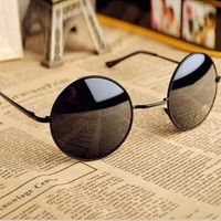 Thin Bar Round Sunglasses YUX985
