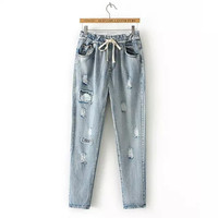 Denim Ripped Drawstring Waist Pants