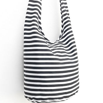 Women Canvas Bag Shoulder bag Sling bag Hobo Boho Tote bag Crossbody bag Printed Canvas Striped Handbags Black & White
