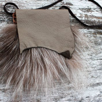 Ghost Fox Fur Medicine Bag with Mushroom Colored Deer Leather, Simple Spiritual Necklace Pouch