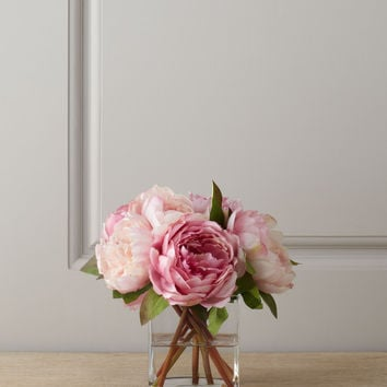 Pink Peonies in Glass Cube - Diane James