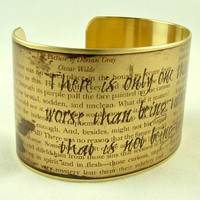 Oscar Wilde Literary Witty Quote Brass Cuff Bracelet - 'That is not being talked about'