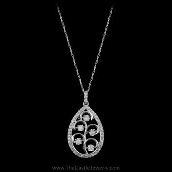 Pear Shaped Multiple Heart Beat Diamond Necklace with Bezel in 14K White Gold